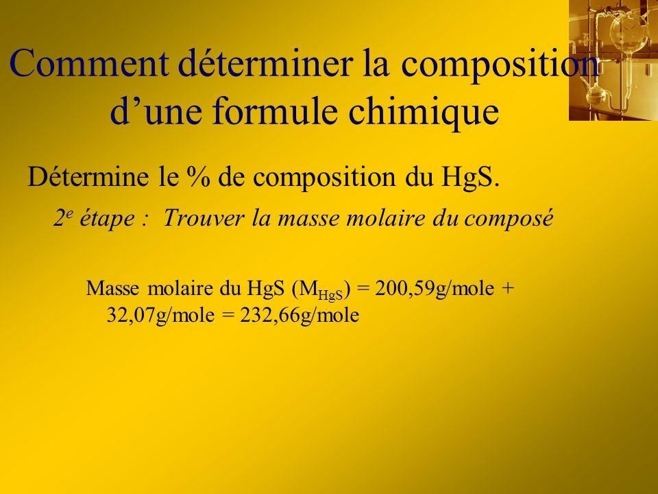 Comment déterminer la composition dune formule chimique 2 e étape : Trouver la masse molaire du composé Masse molaire du HgS (M HgS ) = 200,59g/mole +