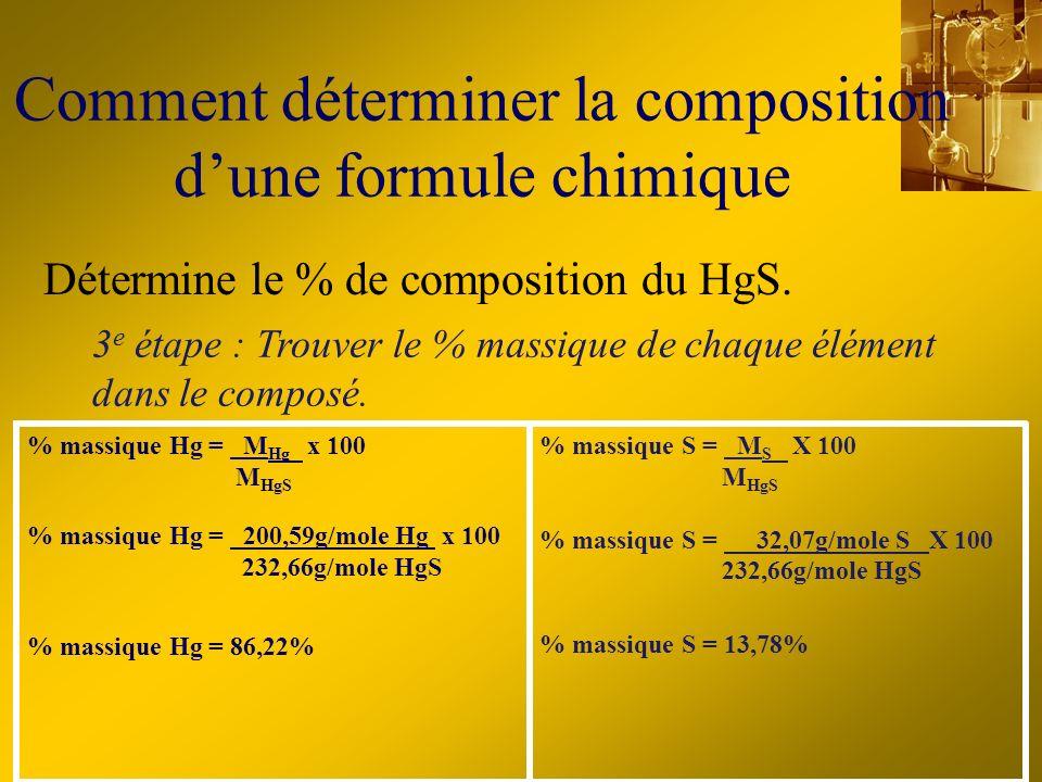 Comment déterminer la composition dune formule chimique % massique Hg = M Hg x 100 M HgS % massique Hg = 200,59g/mole Hg x 100 232,66g/mole HgS % mass