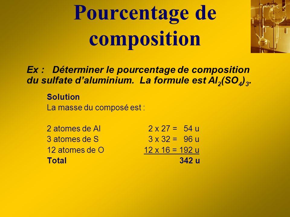 Pourcentage de composition Solution La masse du composé est : 2 atomes de Al2 x 27 = 54 u 3 atomes de S3 x 32 = 96 u 12 atomes de O 12 x 16 = 192 u To