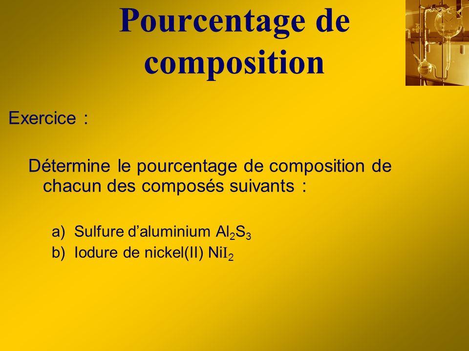 Pourcentage de composition Exercice : Détermine le pourcentage de composition de chacun des composés suivants : a) Sulfure daluminium Al 2 S 3 b) Iodu
