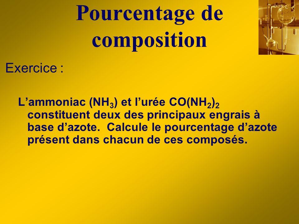 Pourcentage de composition Exercice : Lammoniac (NH 3 ) et lurée CO(NH 2 ) 2 constituent deux des principaux engrais à base dazote. Calcule le pourcen