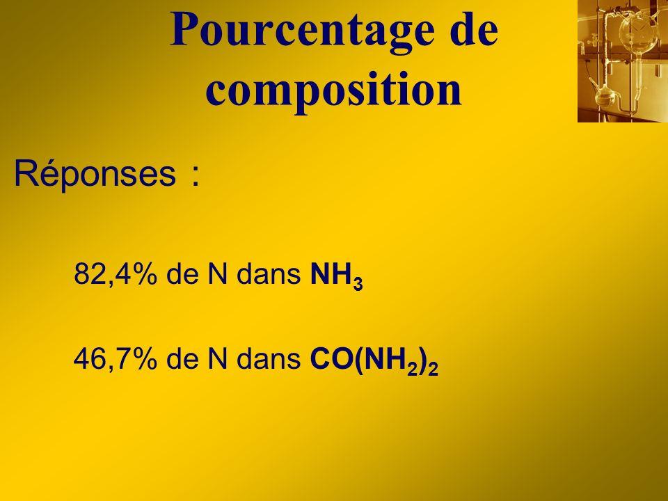 Pourcentage de composition Réponses : 82,4% de N dans NH 3 46,7% de N dans CO(NH 2 ) 2