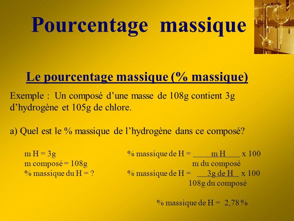 Le pourcentage massique (% massique) Exemple : Un composé dune masse de 108g contient 3g dhydrogène et 105g de chlore. a) Quel est le % massique de lh