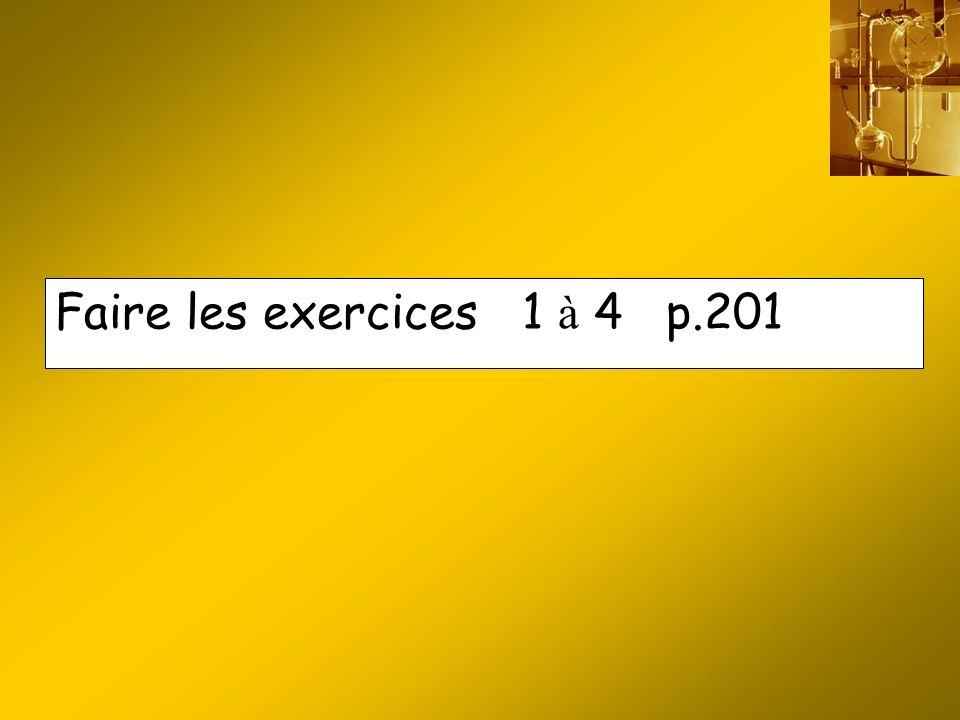 Faire les exercices 1 à 4 p.201