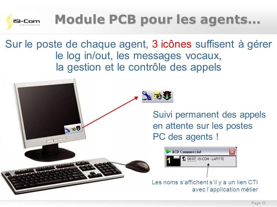 Page 12 Sur le poste de chaque agent, 3 icônes suffisent à gérer le log in/out, les messages vocaux, la gestion et le contrôle des appels Module PCB p