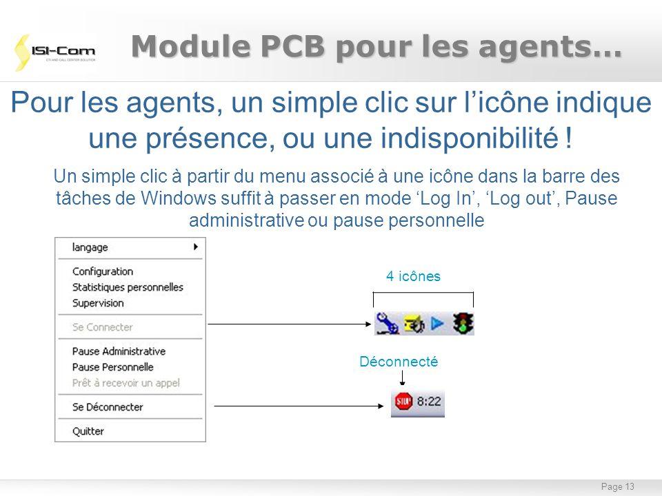Page 13 Pour les agents, un simple clic sur licône indique une présence, ou une indisponibilité ! Un simple clic à partir du menu associé à une icône
