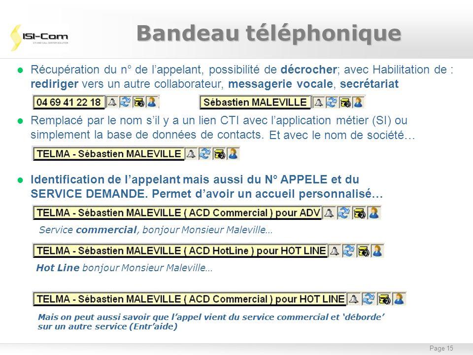 Page 15 l Remplacé par le nom sil y a un lien CTI avec lapplication métier (SI) ou simplement la base de données de contacts. Bandeau téléphonique l R