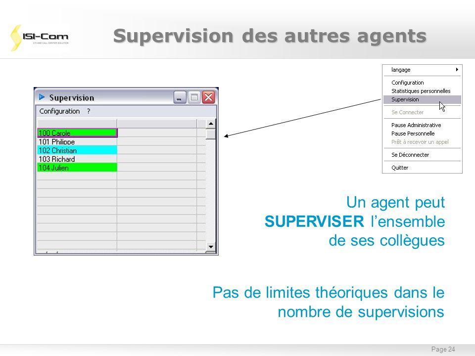 Page 24 Supervision des autres agents Un agent peut SUPERVISER lensemble de ses collègues Pas de limites théoriques dans le nombre de supervisions