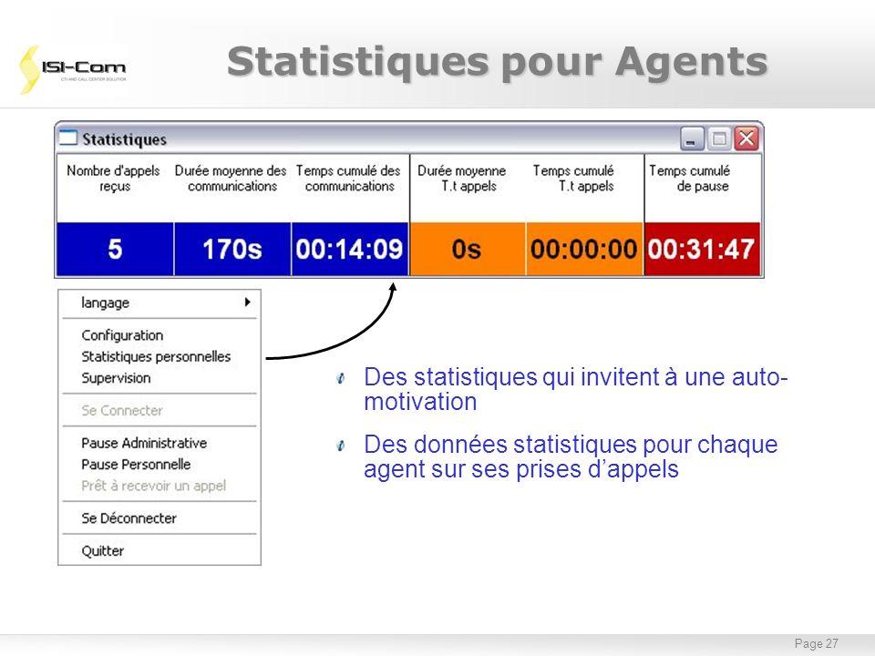 Page 27 Des statistiques qui invitent à une auto- motivation Des données statistiques pour chaque agent sur ses prises dappels Statistiques pour Agent