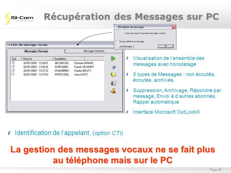 Page 28 La gestion des messages vocaux ne se fait plus au téléphone mais sur le PC Visualisation de lensemble des messages avec horodatage 3 types de