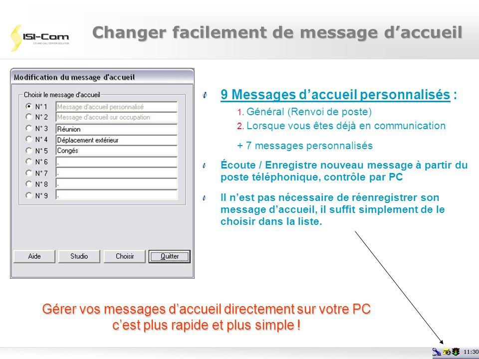 Page 29 9 Messages daccueil personnalisés : 1. Général (Renvoi de poste) 2. Lorsque vous êtes déjà en communication + 7 messages personnalisés Écoute