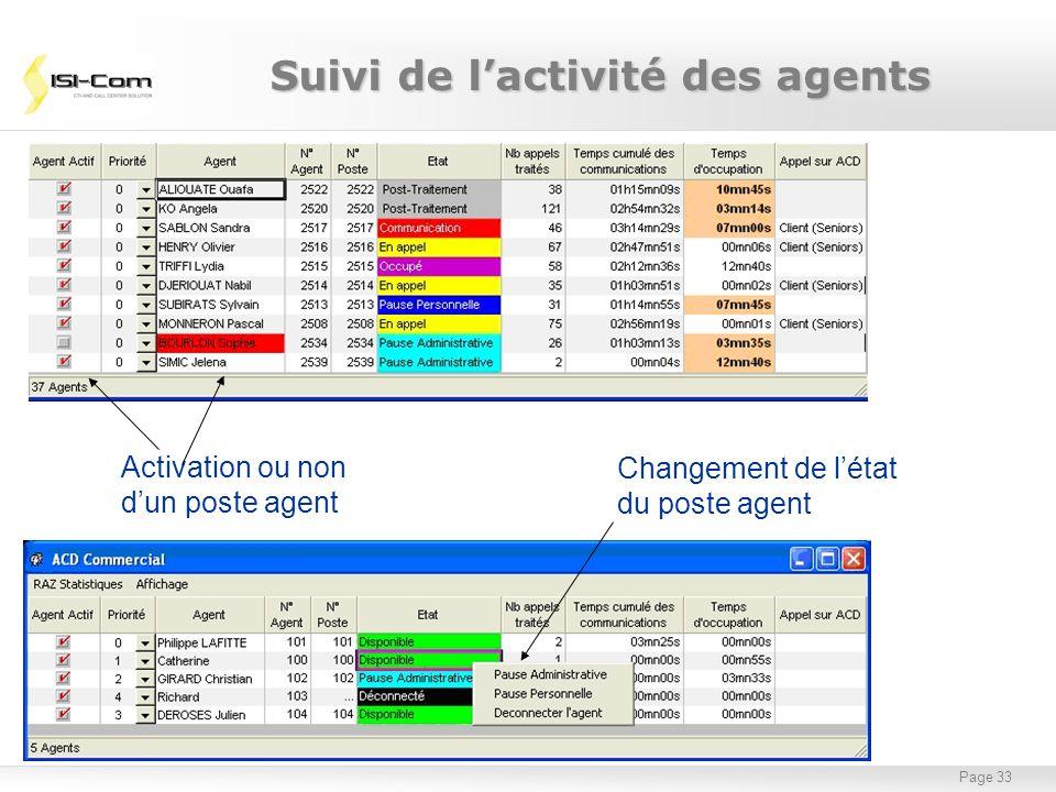 Page 33 Changement de létat du poste agent Activation ou non dun poste agent Suivi de lactivité des agents