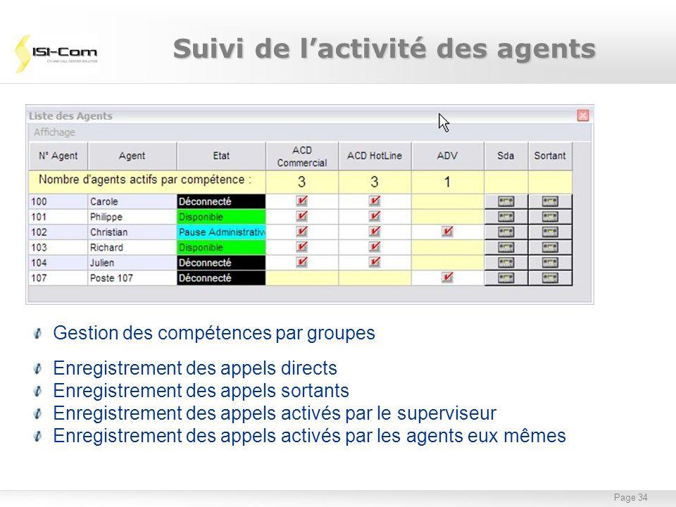 Page 34 Suivi de lactivité des agents Gestion des compétences par groupes Enregistrement des appels directs Enregistrement des appels sortants Enregis