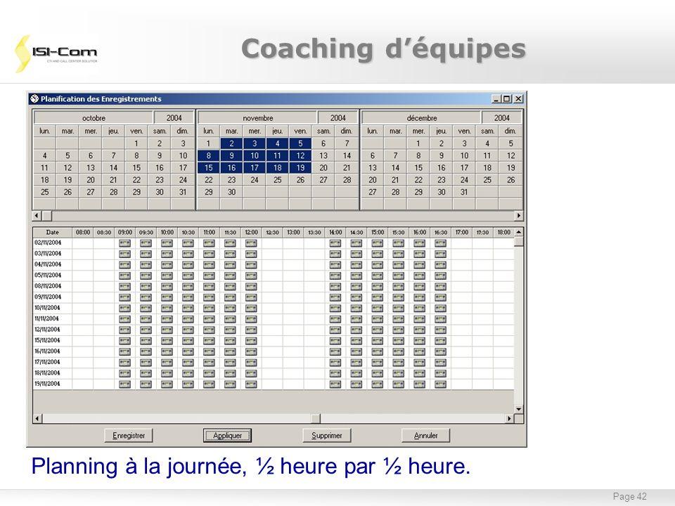 Page 42 Planning à la journée, ½ heure par ½ heure. Coaching déquipes