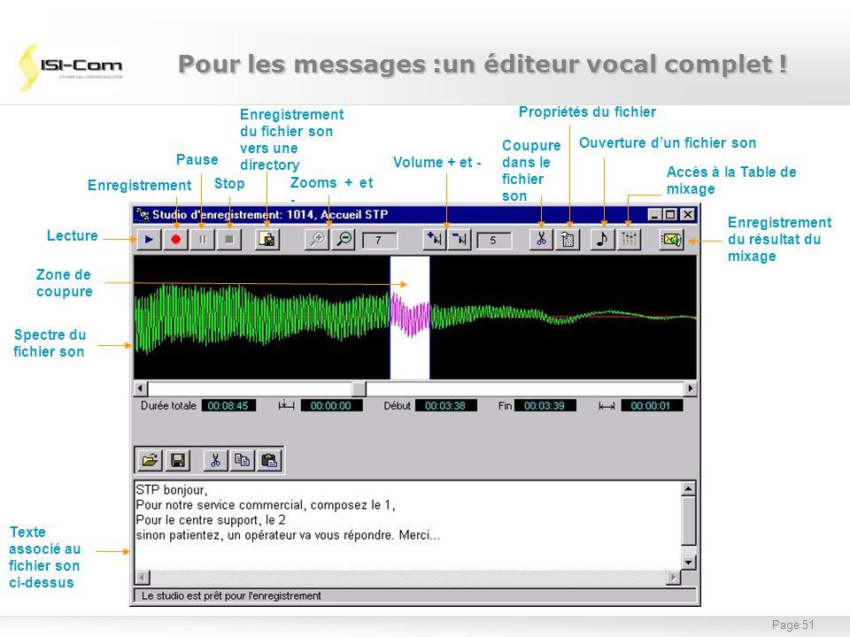 Page 51 Lecture Enregistrement Pause Stop Enregistrement du fichier son vers une directory Zooms + et - Volume + et - Coupure dans le fichier son Prop