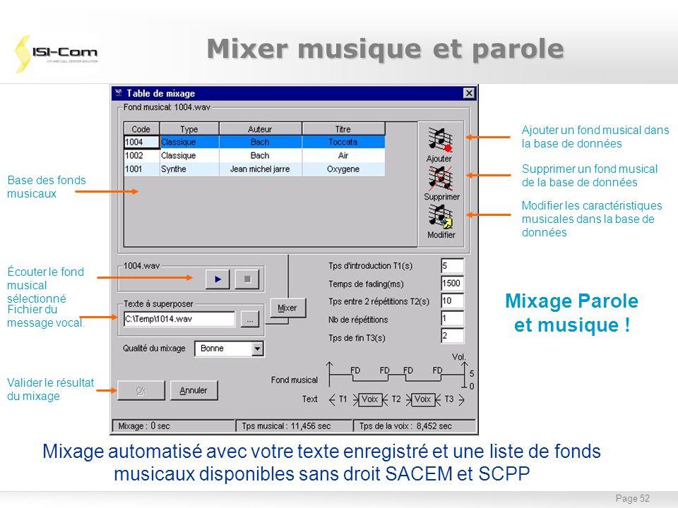 Page 52 Ajouter un fond musical dans la base de données Supprimer un fond musical de la base de données Modifier les caractéristiques musicales dans l