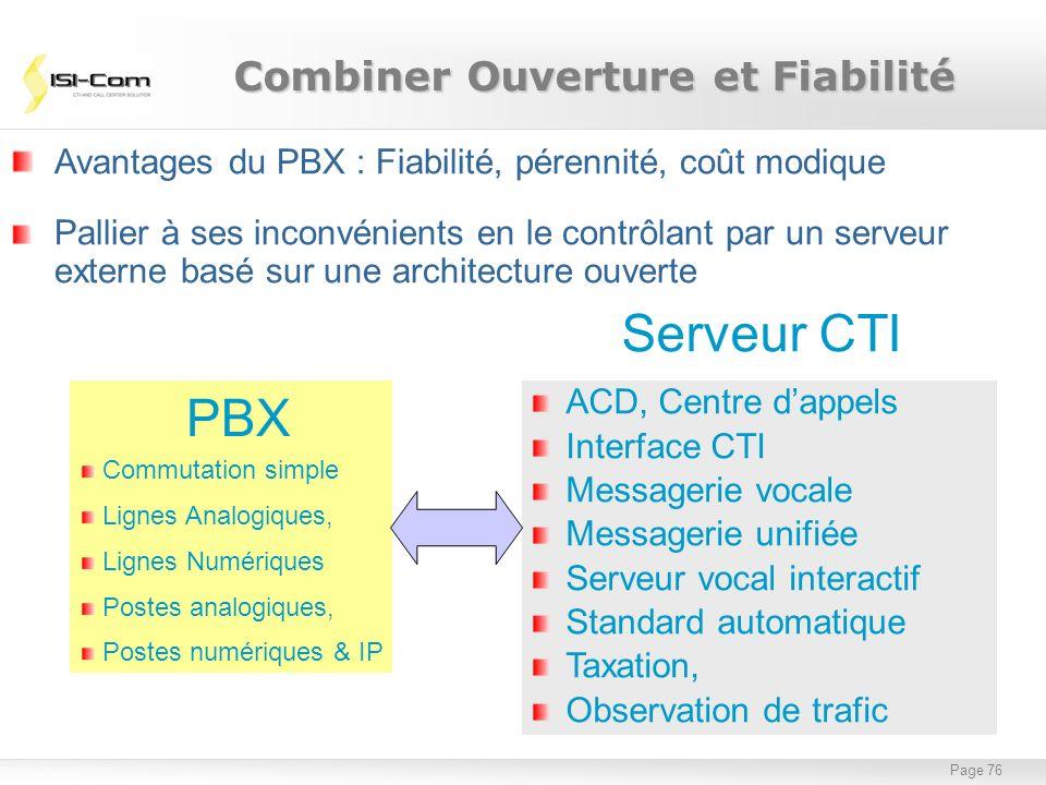 Page 76 Avantages du PBX : Fiabilité, pérennité, coût modique Pallier à ses inconvénients en le contrôlant par un serveur externe basé sur une archite