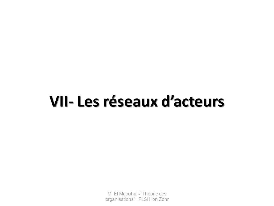 VII- Les réseaux dacteurs M. El Maouhal -