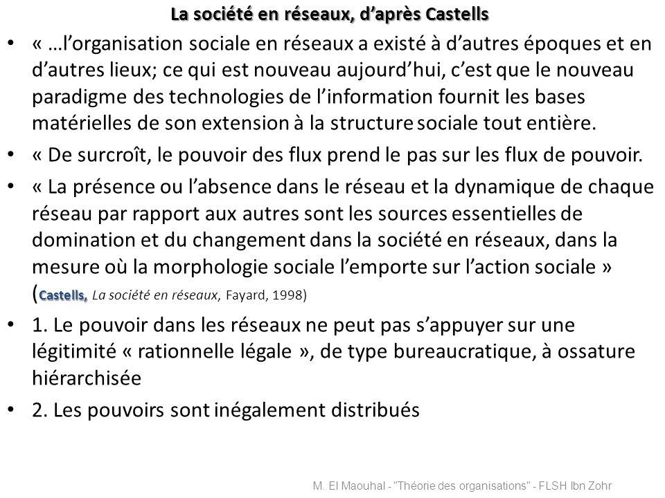 La société en réseaux, daprès Castells « …lorganisation sociale en réseaux a existé à dautres époques et en dautres lieux; ce qui est nouveau aujourdh