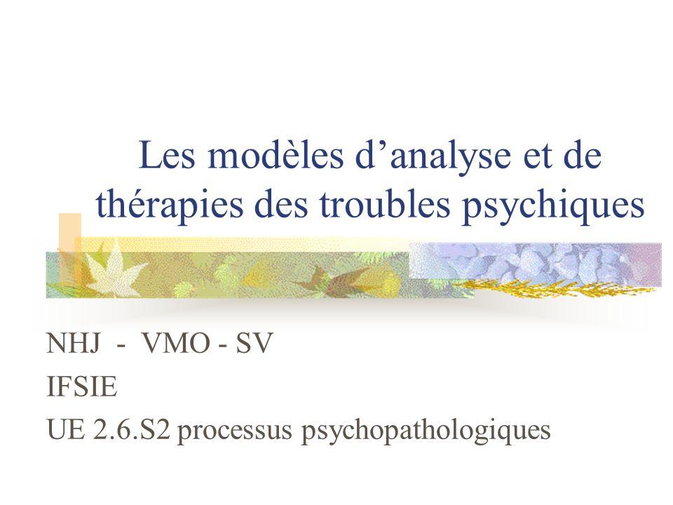 Les modèles danalyse et de thérapies des troubles psychiques NHJ - VMO - SV IFSIE UE 2.6.S2 processus psychopathologiques