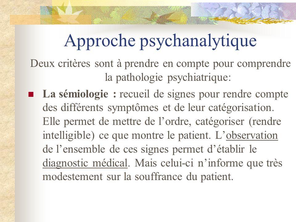 Approche psychanalytique Deux critères sont à prendre en compte pour comprendre la pathologie psychiatrique: La sémiologie : recueil de signes pour re
