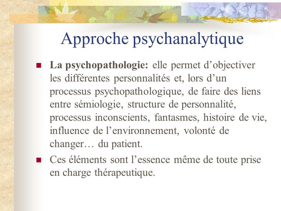 Approche psychanalytique La psychopathologie: elle permet dobjectiver les différentes personnalités et, lors dun processus psychopathologique, de fair