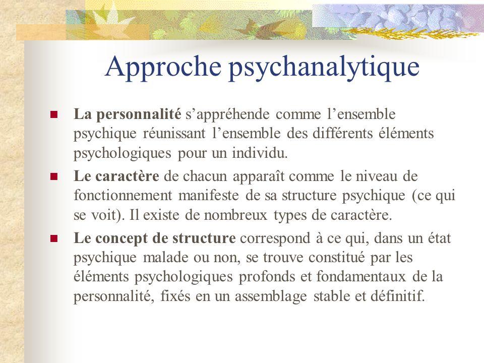 Approche psychanalytique La personnalité sappréhende comme lensemble psychique réunissant lensemble des différents éléments psychologiques pour un ind