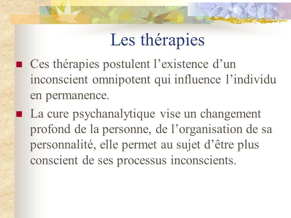 Les thérapies Ces thérapies postulent lexistence dun inconscient omnipotent qui influence lindividu en permanence. La cure psychanalytique vise un cha