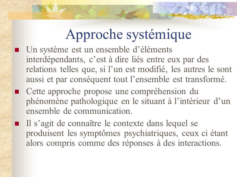 Approche systémique Un système est un ensemble déléments interdépendants, cest à dire liés entre eux par des relations telles que, si lun est modifié,