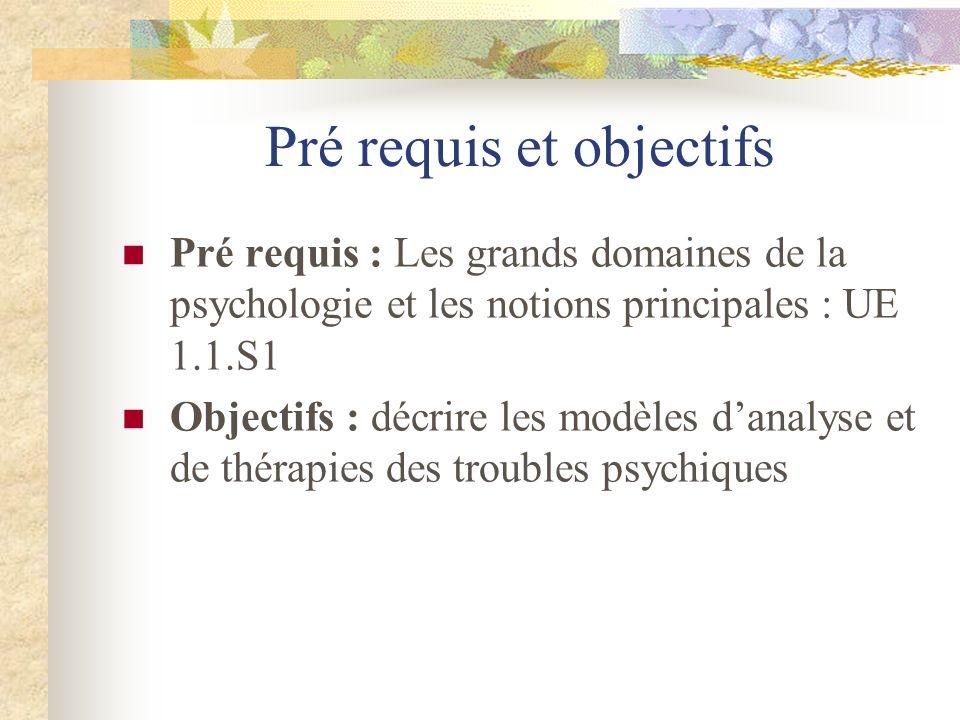 Pré requis et objectifs Pré requis : Les grands domaines de la psychologie et les notions principales : UE 1.1.S1 Objectifs : décrire les modèles dana