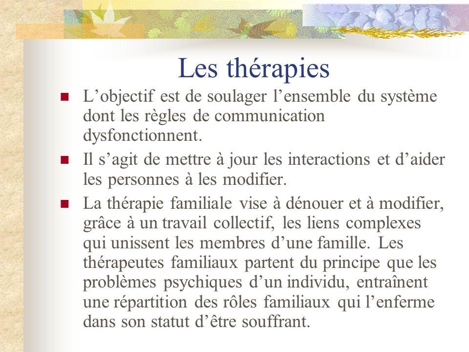 Les thérapies Lobjectif est de soulager lensemble du système dont les règles de communication dysfonctionnent. Il sagit de mettre à jour les interacti