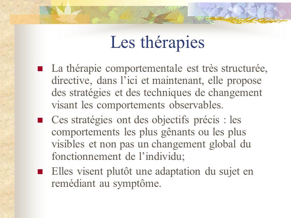 Les thérapies La thérapie comportementale est très structurée, directive, dans lici et maintenant, elle propose des stratégies et des techniques de ch