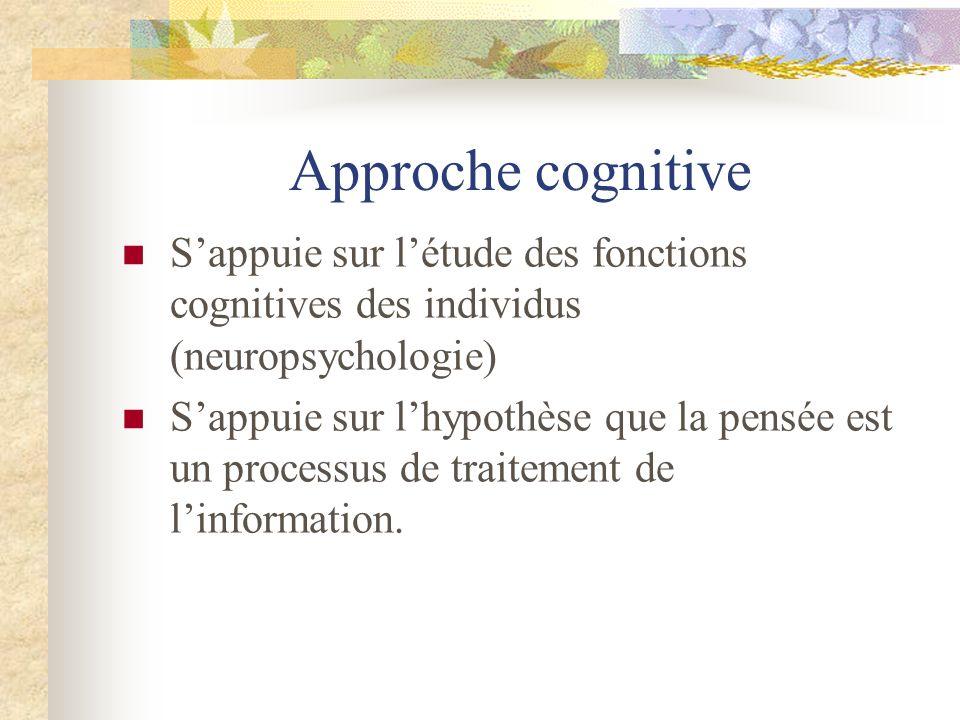 Approche cognitive Sappuie sur létude des fonctions cognitives des individus (neuropsychologie) Sappuie sur lhypothèse que la pensée est un processus