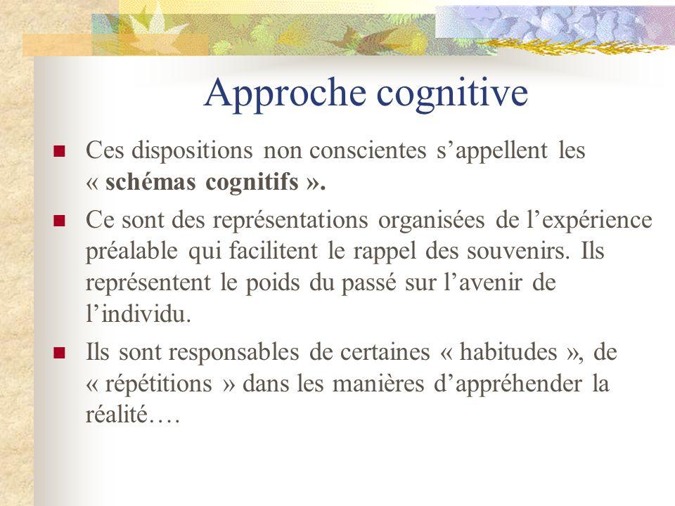 Approche cognitive Ces dispositions non conscientes sappellent les « schémas cognitifs ». Ce sont des représentations organisées de lexpérience préala
