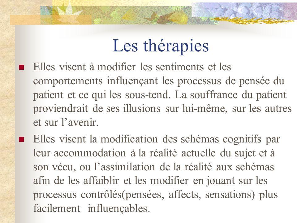 Les thérapies Elles visent à modifier les sentiments et les comportements influençant les processus de pensée du patient et ce qui les sous-tend. La s