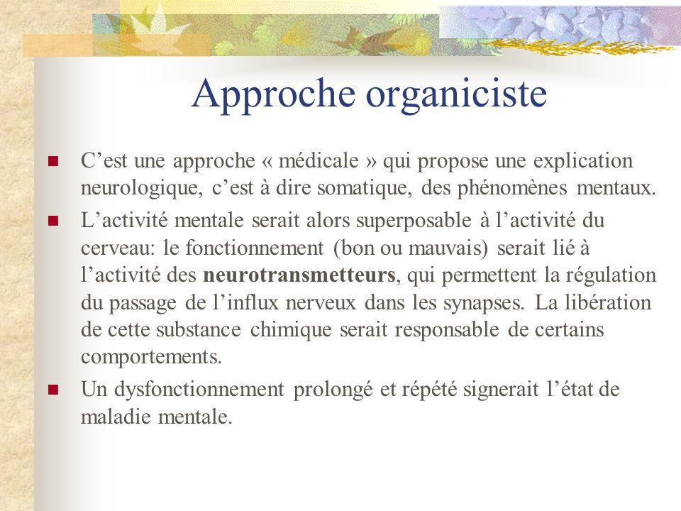 Approche organiciste Cest une approche « médicale » qui propose une explication neurologique, cest à dire somatique, des phénomènes mentaux. Lactivité