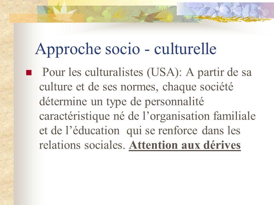 Approche socio - culturelle Pour les culturalistes (USA): A partir de sa culture et de ses normes, chaque société détermine un type de personnalité ca