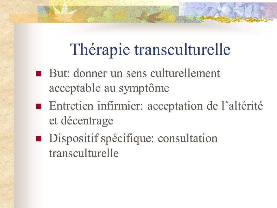 Thérapie transculturelle But: donner un sens culturellement acceptable au symptôme Entretien infirmier: acceptation de laltérité et décentrage Disposi