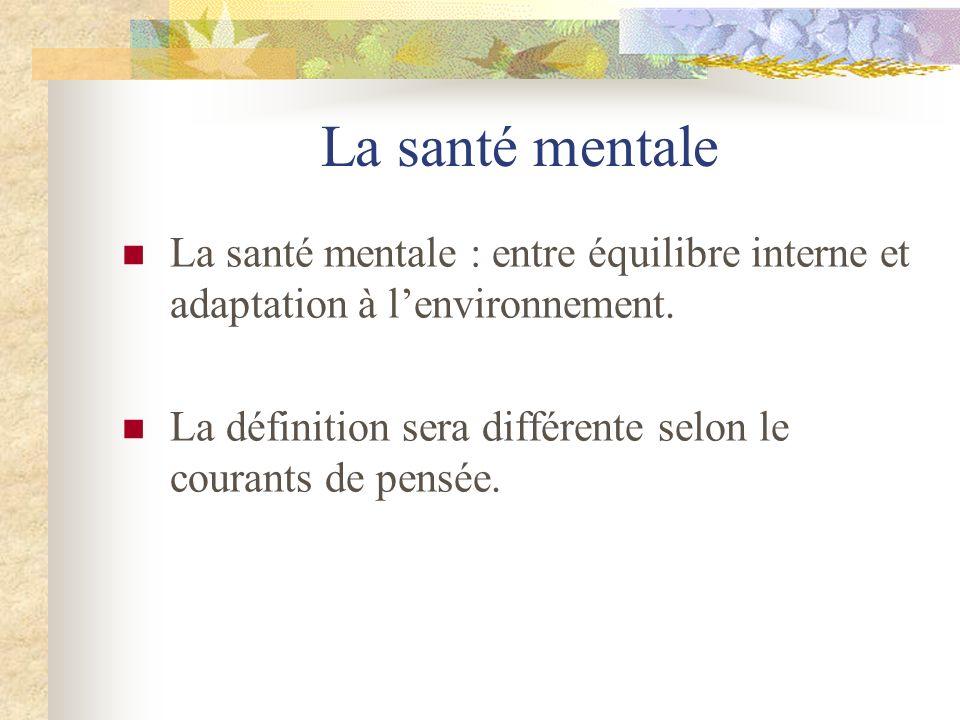 La santé mentale La santé mentale : entre équilibre interne et adaptation à lenvironnement. La définition sera différente selon le courants de pensée.