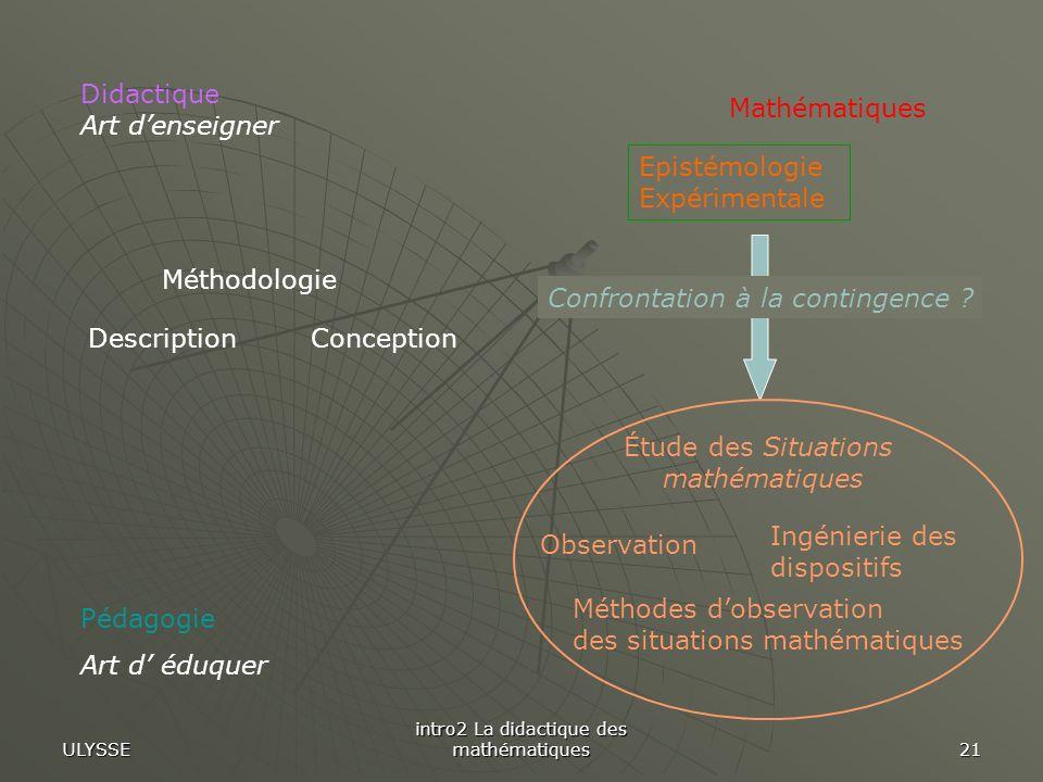 ULYSSE intro2 La didactique des mathématiques 21 Pédagogie Art d éduquer Mathématiques Méthodologie ConceptionDescription Epistémologie Expérimentale