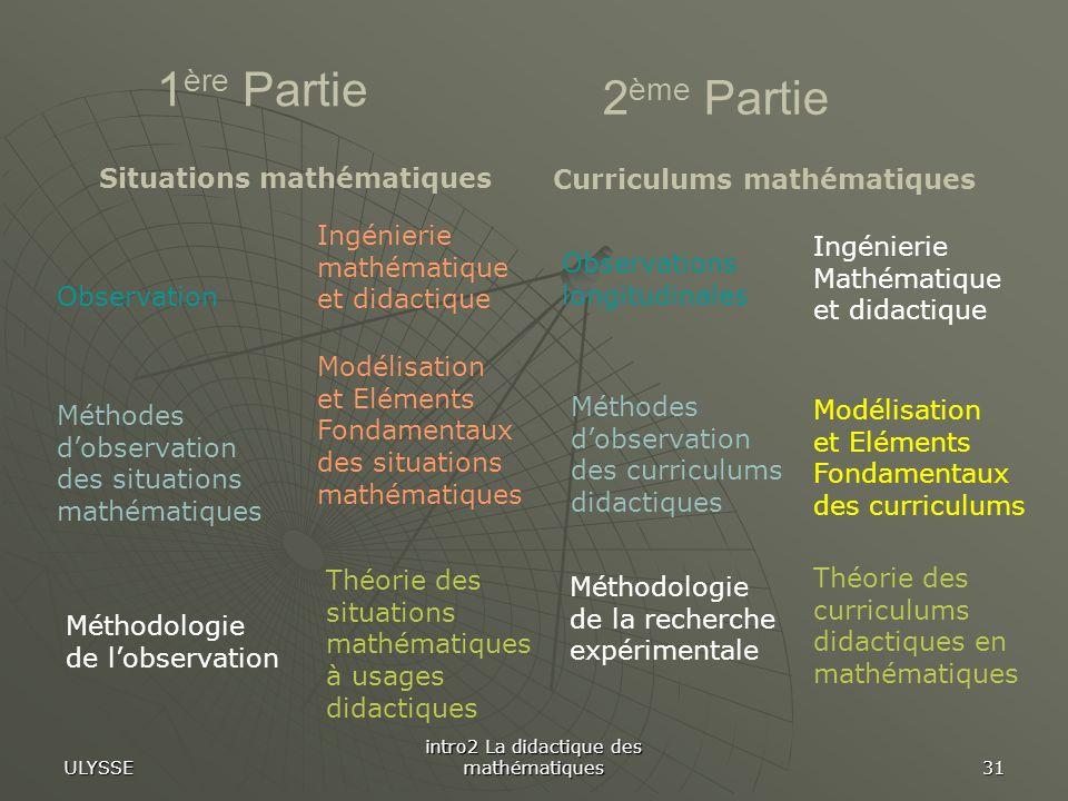 ULYSSE intro2 La didactique des mathématiques 31 1 ère Partie Ingénierie mathématique et didactique Modélisation et Eléments Fondamentaux des situatio