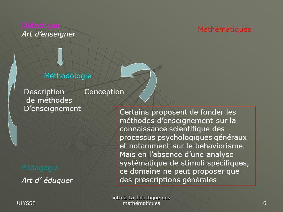 ULYSSE intro2 La didactique des mathématiques 6 Pédagogie Art d éduquer Mathématiques Méthodologie ConceptionDescription de méthodes Denseignement Did