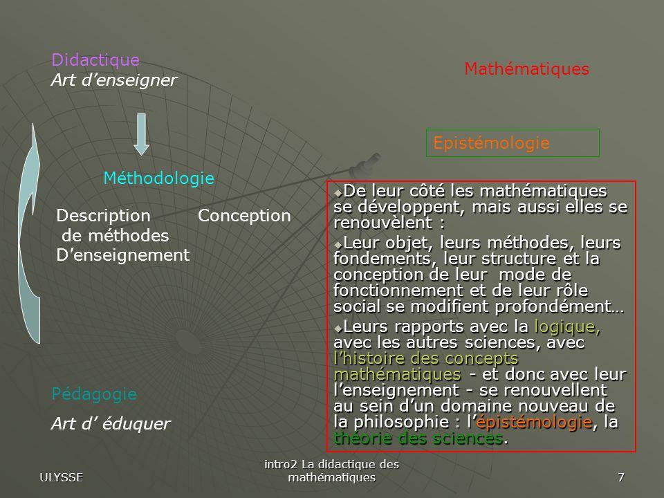 ULYSSE intro2 La didactique des mathématiques 18 De façon classique lactivité mathématique est provoquée par des problèmes et des exercices obtenus en transformant le texte de certains théorèmes.