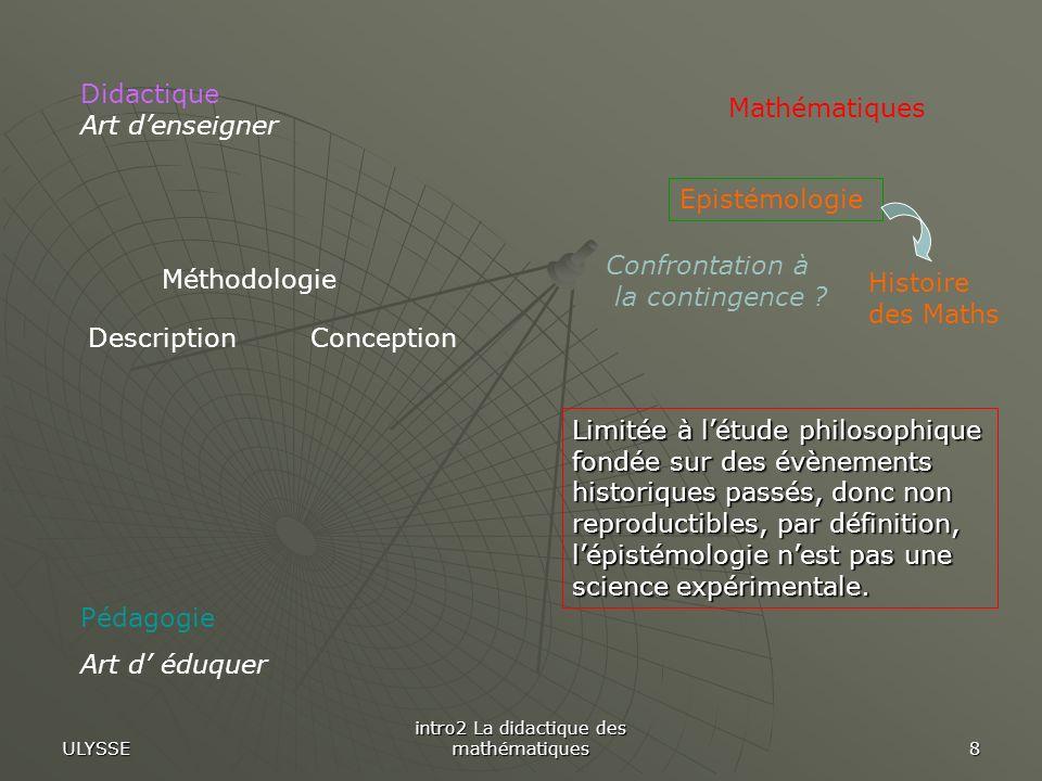 ULYSSE intro2 La didactique des mathématiques 8 Pédagogie Art d éduquer Mathématiques Méthodologie ConceptionDescription Epistémologie Didactique Art