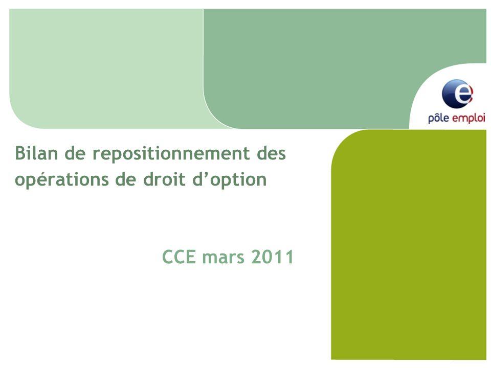 Bilan de repositionnement des opérations de droit doption CCE mars 2011