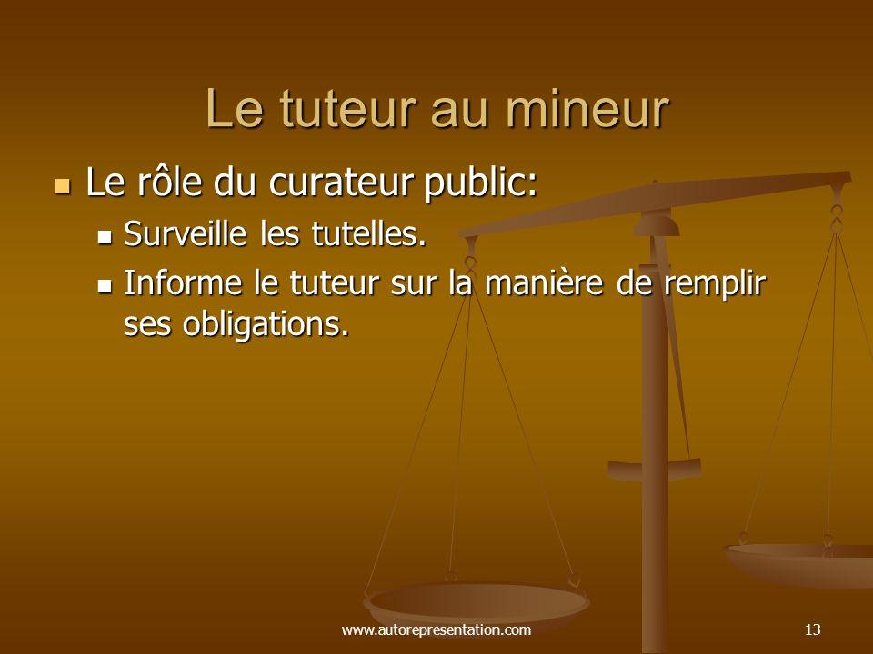 www.autorepresentation.com13 Le tuteur au mineur Le rôle du curateur public: Le rôle du curateur public: Surveille les tutelles. Surveille les tutelle