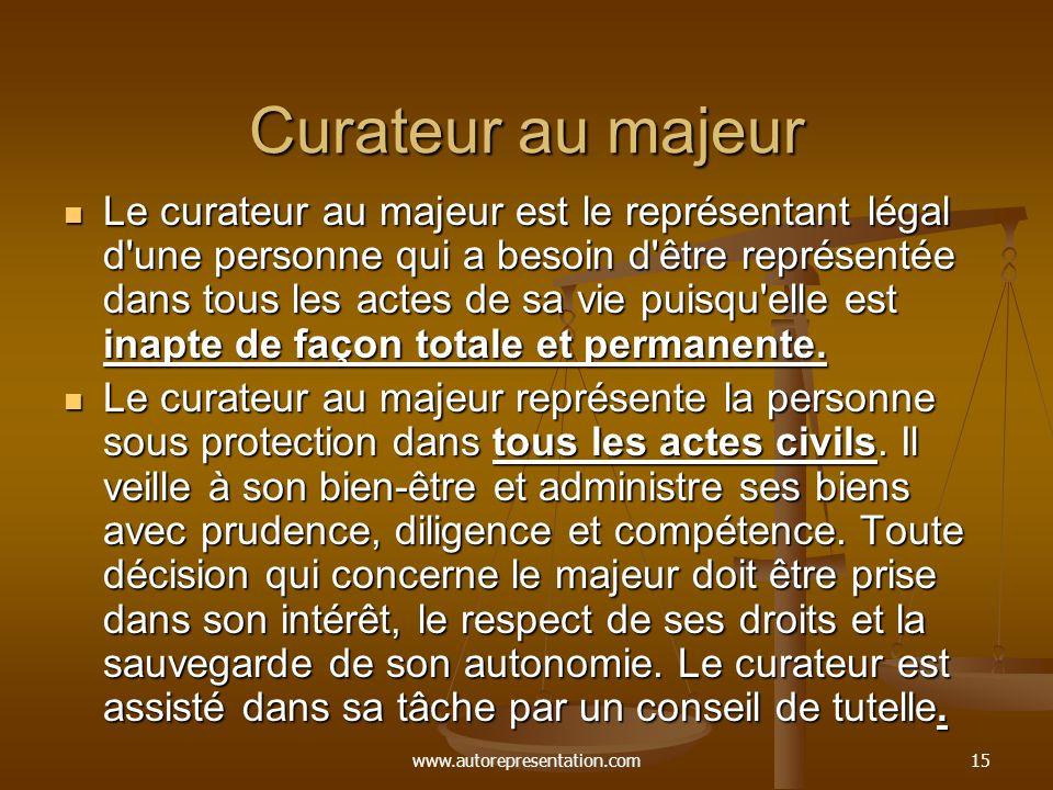 www.autorepresentation.com15 Curateur au majeur Le curateur au majeur est le représentant légal d'une personne qui a besoin d'être représentée dans to