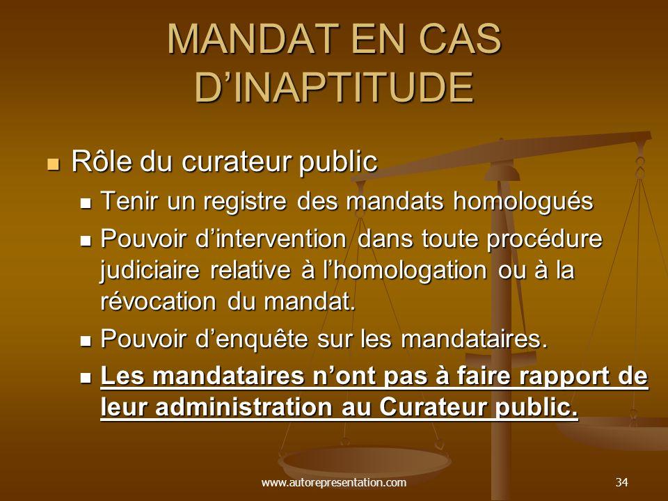www.autorepresentation.com34 MANDAT EN CAS DINAPTITUDE Rôle du curateur public Rôle du curateur public Tenir un registre des mandats homologués Tenir