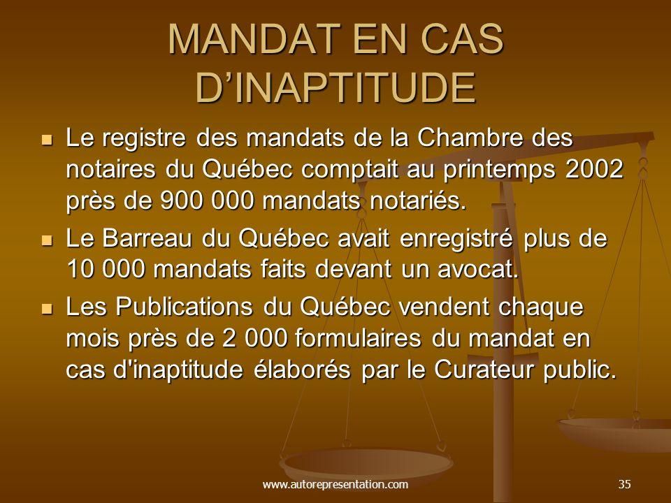 www.autorepresentation.com35 MANDAT EN CAS DINAPTITUDE Le registre des mandats de la Chambre des notaires du Québec comptait au printemps 2002 près de