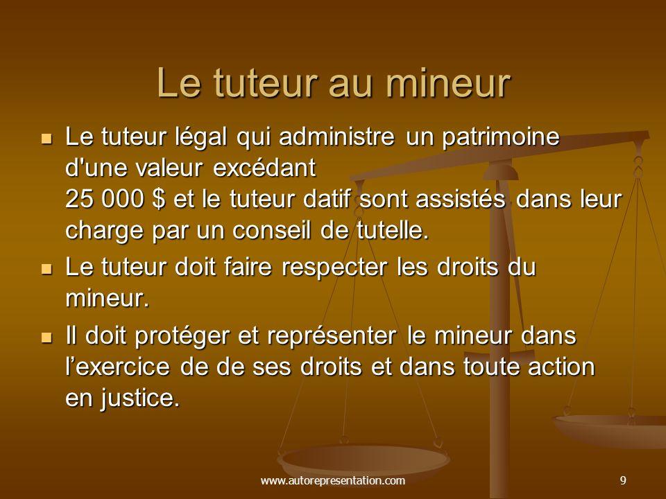 www.autorepresentation.com10 Le tuteur au mineur Le tuteur a la simple administration des biens du mineur.